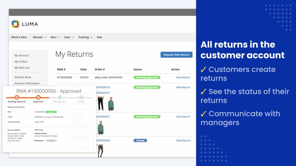 customer can see the RMA process